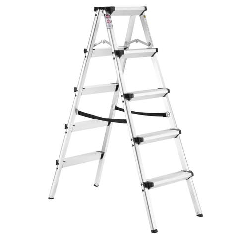 Finether 4 ft High Aluminum Folding Double Sided Step Ladder