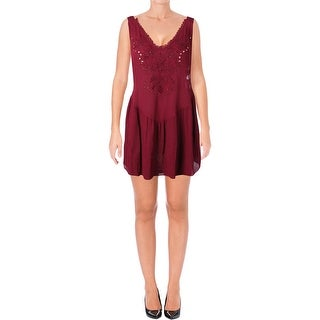 Intimately Free People Womens Delphine Slip Dress Beaded Cut-Out