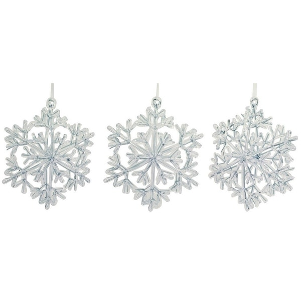 """Club Pack of 18 Silver and Clear Snowflake Christmas Ornaments 6.5"""""""