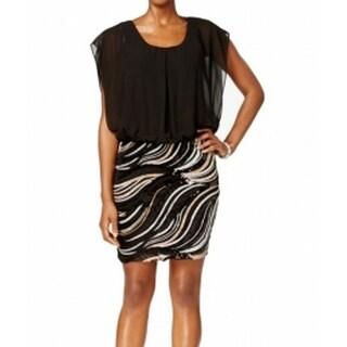 SLNY NEW Black Women's Size 14 Sequin Scoop-Neck Blouson Dress