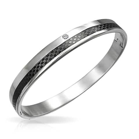 Black Carbon Fiber CZ Cubic Zirconia Accent Cuff Bangle Bracelet For Men Silver Tone Stainless Steel