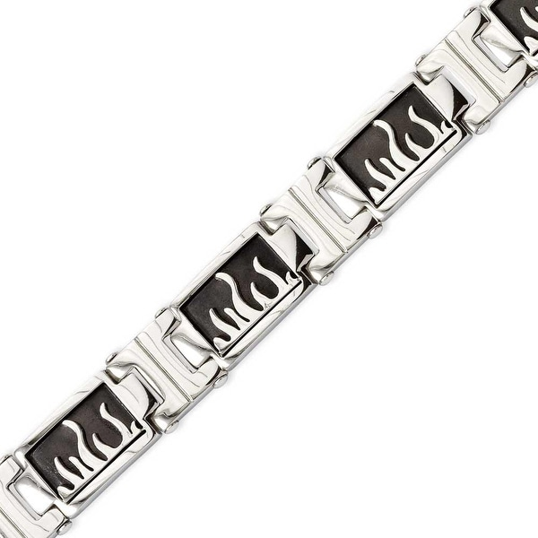 Stainless Steel IP Black Plated with Polished Flames 8.5in Bracelet