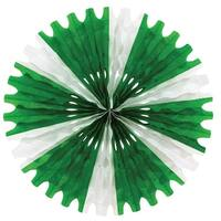 Club Pack of 12 Green and White Tissue Fan Hanging Decorations 25""