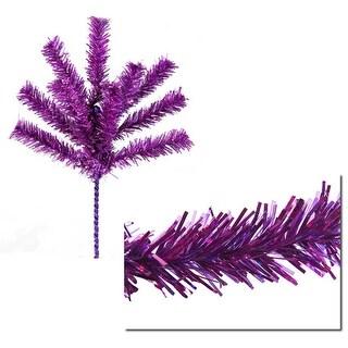 "Sparkling Purple Tinsel Christmas Craft Pick 7"""