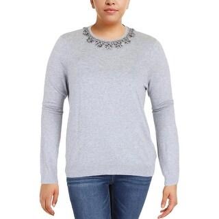 Lauren Ralph Lauren Womens Sweater Embellished Long Sleeves