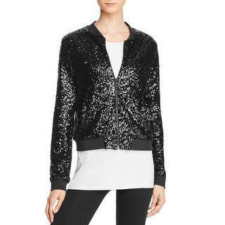 Eleven Paris Womens Bomber Jacket Sequined Outerwear