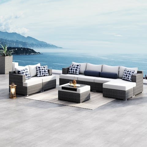 Corvus Yolanda 8-piece Sunbrella Sectional Wicker Sofa Set