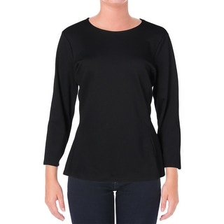 Lauren Ralph Lauren Womens Peplum Stretch Pullover Top