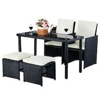 Costway 5 PCS Outdoor Patio Garden Rattan Wicker Sofa Set Furniture Cushioned W/Ottoman - Black