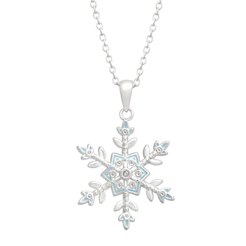 Disney's 'Frozen' Snowflake Pendant with Enamel in Sterling Silver-Plated Brass - White
