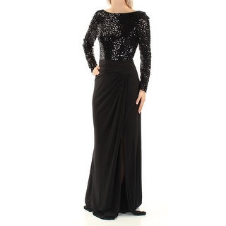 Womens Black Long Sleeve FullLength Formal Dress Size: 2