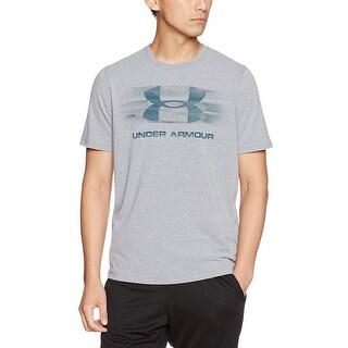 Under Armor Men's Tread On Sport style T-Shirt, Steel Light Heather/Arden Green, L