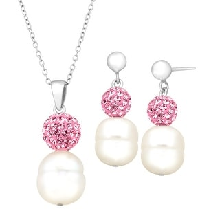 Crystaluxe Ringed Freshwater Pearl Pendant & Earring Set with Swarovski Crystals in Sterling Silver