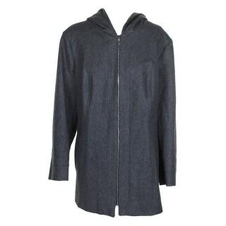 London Fog Plus Size Medium Grey Wool-Blend Seamed Hooded Peacoat 3X