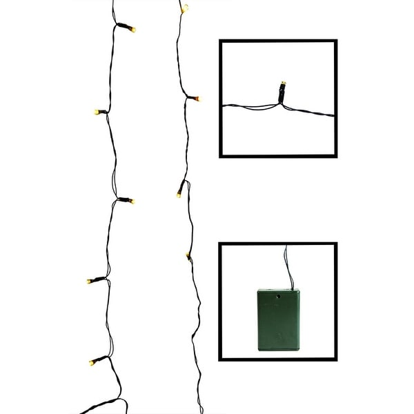 Set of 20 Battery Operated Gold LED Wide Angle Christmas Lights - Green Wire