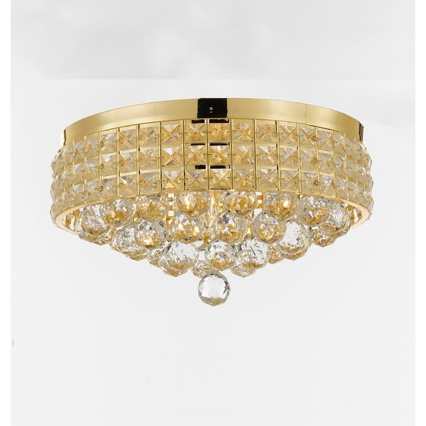 Flush Mount French Empire Crystal Chandelier with 40MM Crystal Balls Crystal Gold