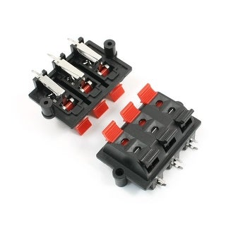 Unique Bargains 2pcs Red Black Push Type 6 Positon Speaker Terminal Connector 6Pins
