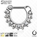 Crystal Paved 316L Surgical Steel Septum Clicker (Sold Ind.) - Thumbnail 0