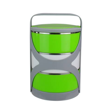 Green and White Stacking Food Storage Containers with Carrying Holder