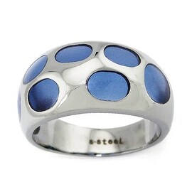 Stainless Steel Ladies' Ring with Blue Resin Inlay (Sizes 8-11)