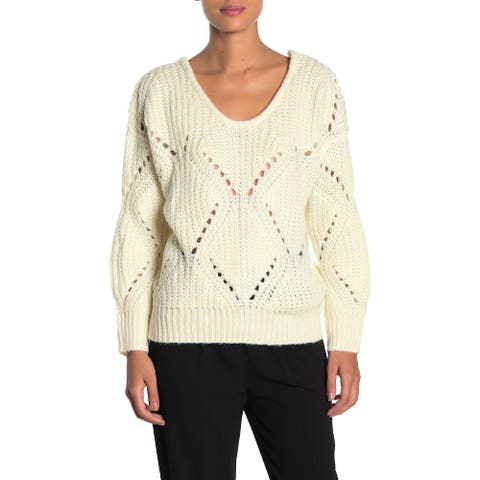 FRNCH Women Sweater White Ivory Large L Knitted Pointelle Ribbed-Hem