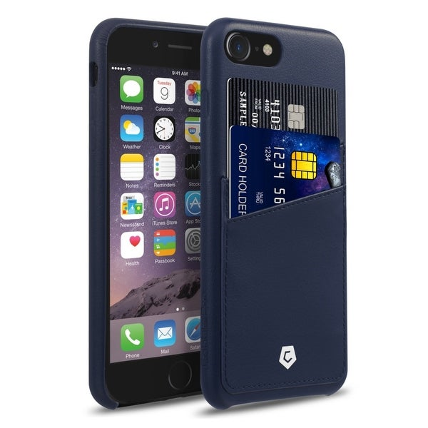 CobblePro Dark Blue Leather with Wallet Flap Pouch For Apple iPhone 7