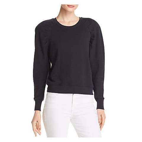 JOIE Womens Navy Shoulder Pads Long Sleeve Crew Neck Sweater Size M