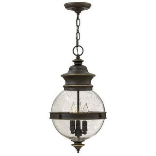 Hinkley Lighting 2342 3 Light Outdoor Full Sized Single Pendant with Clear Seedy Glass Globe Shade from the Saybrook Collection