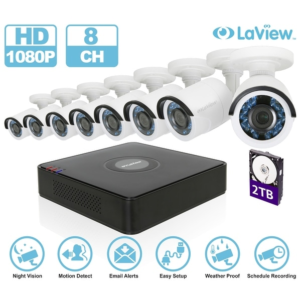 LaView LV-KT938HS8A5-T2 8-channel 1080P Full HD-Analog 2TB HDD Surveillance DVR with (8) 1080p Bullet Cameras