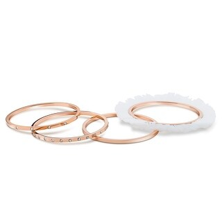 Rose Gold Plated Ballerina Bracelets with Zircon & Tulle (Set Of 4)