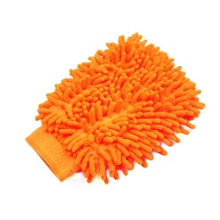 Orange Microfiber Chenille Washing Cleaning Glove Mitten for Car Vehicle Body