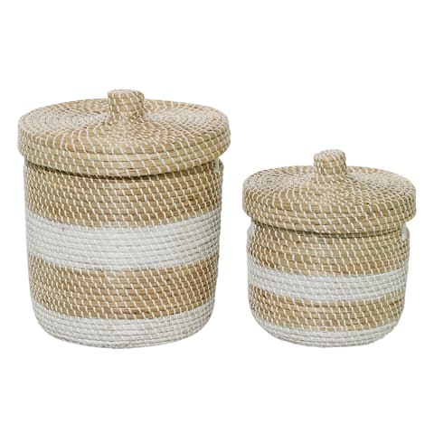 """Woven Striped Round Seagrass Basket With Lid Set Of 2 13"""" 17"""" - 15 x 15 x 17Round"""