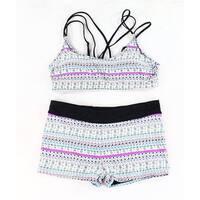Designer Brand Black Womens Size XL 3pc Printed Bikini Swimwear