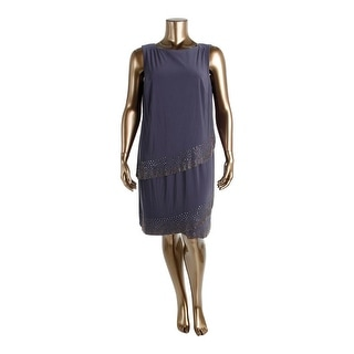 Betsy & Adam Womens Plus Embellished Tiered Cocktail Dress