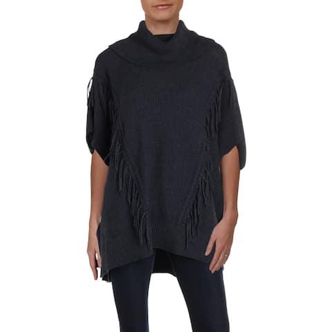 Anne Klein Womens Poncho Sweater Fringe Batwing