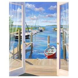 ''Marina Deck'' by Carol Saxe Coastal Art Print (21 x 17 in.)