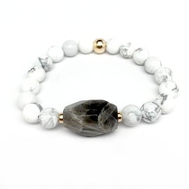 White Howlite & Grey 'Rock Candy' stretch bracelet 14k Over Sterling Silver
