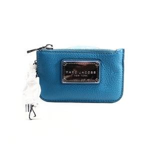 Marc Jacobs NEW Blue Glacier Pebble Leather Recruit Coin Key Zip Purse