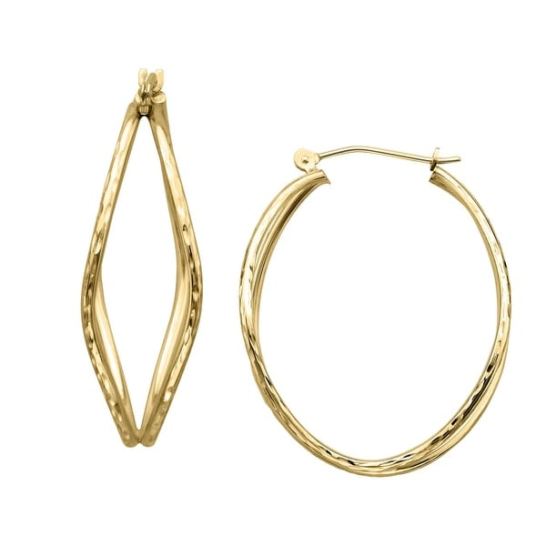 Just Gold Double Hoop Organic Shaped Earrings in 14K Gold - YELLOW