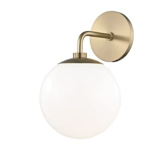 """Mitzi H105101 Stella Single Light 11-1/2"""" High Wall Sconce with Opal Glossy Shad"""