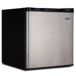 Della Compact Mini Refrigerator & Freezer, 1.6 Cubic Feet, Stainless Steel