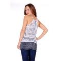 Simply Ravishing Women's Light V Neck Sleeveless Printed Chiffon Loose Fit Tunic Tank Top - Thumbnail 9