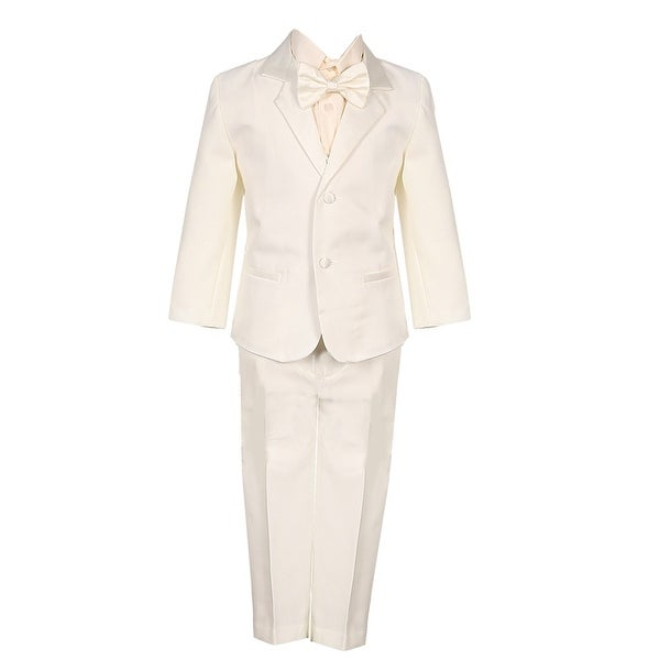 Little Boys Ivory 5 Piece Vest Jacket Pants Special Occasion Tuxedo Suit