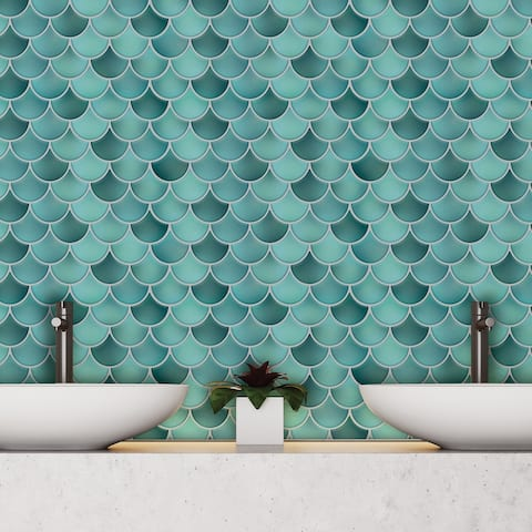Walplus Fresh Turquoise Glossy 3D Metro Peel and Stick Backsplash Tile Stickers