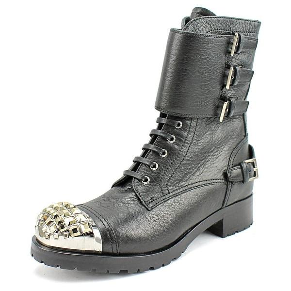 70dd9018434f1 Shop Miu Miu CALAZUTURE DONNA Women Round Toe Leather Black Combat ...