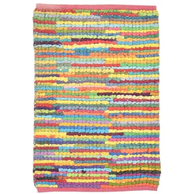 """One of a Kind Hand-Woven Modern & Contemporary 2' x 3' Stripe Cotton Multi Rug - 2'0""""x3'1"""""""