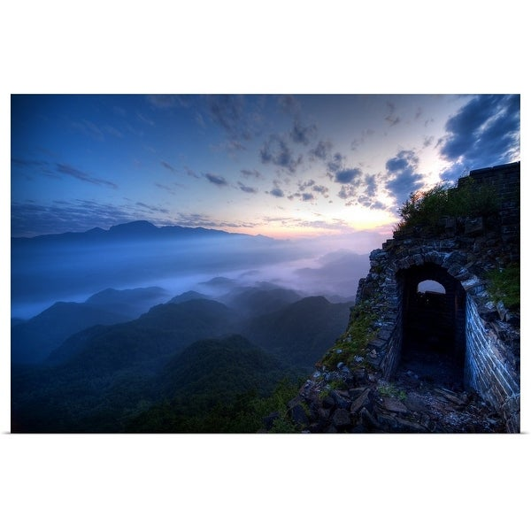 """""""Great Wall of China, JianKou, unrestored section in the morning"""" Poster Print"""