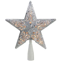 """8.5"""" Silver Glitter Star Cut-Out Design Christmas Tree Topper - Clear Lights"""