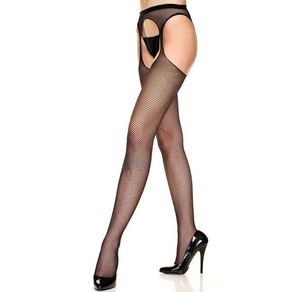 Fishnet Suspender Pantyhose, Seamless Suspender Fishnet Pantyhose