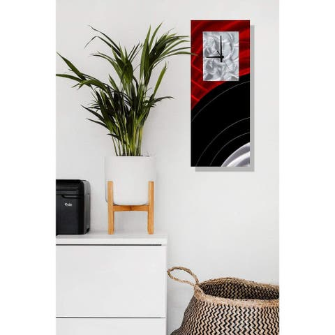 "Statements2000 Metal Wall Clock Art Modern Red Silver Black Accent Decor by Jon Allen - Power On Clock - 24"" x 10"""